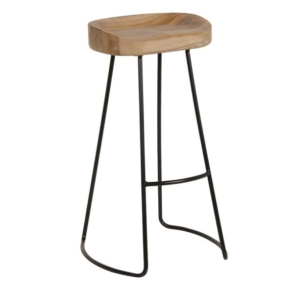 Weathered Oak & Metal Stool.