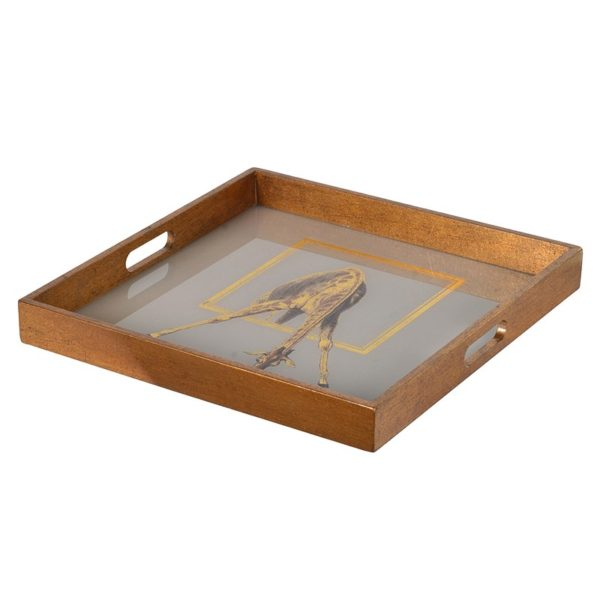 Giraffe print drinks tray