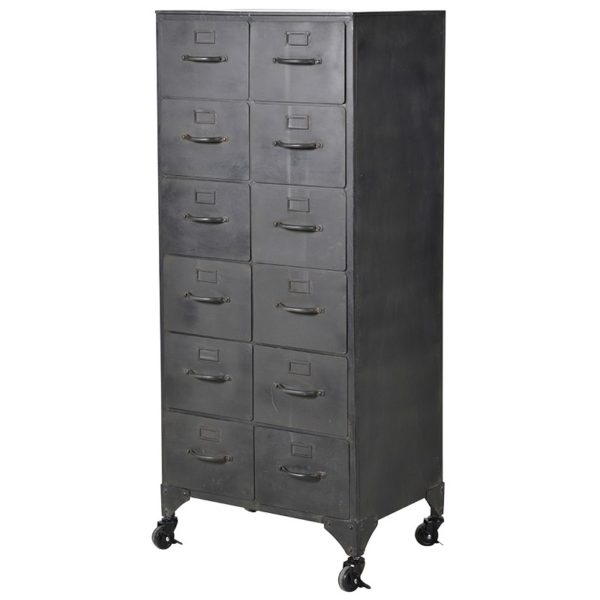 Black Metal 12 Drawer Cabinet