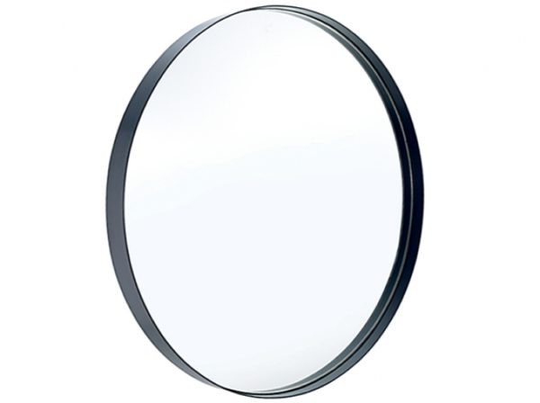 grey metal rim mirror
