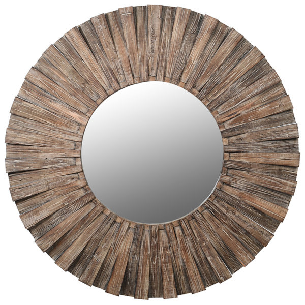 Round Mirror distressed fir wood rustic