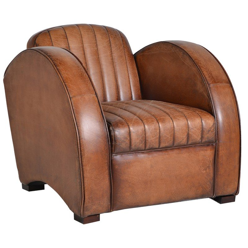Hudson Tan Leather Chair Tree Frog