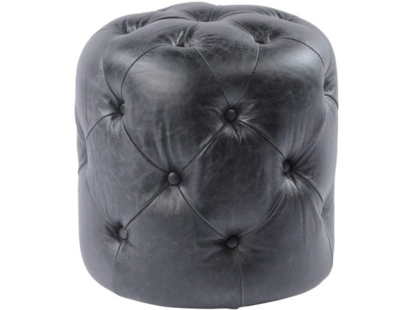 Vintaged Black Leather Stool