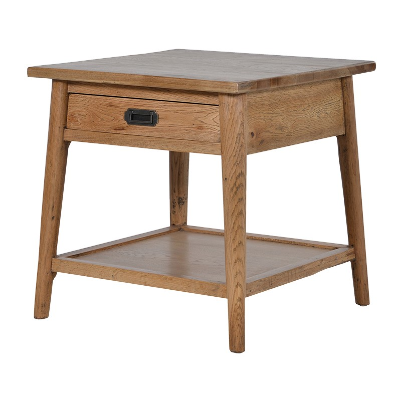 Side Table with Shelf & Drawer